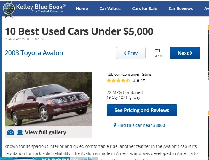 10 Best Used Cars Under $5,000 Listicle